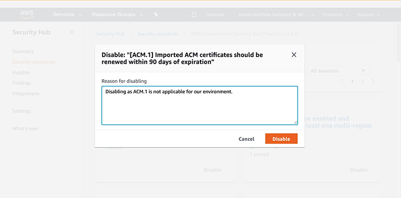Figure 8: Reason for disabling a control page - Disabling control ACM.1example