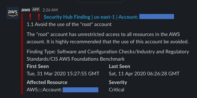 Figure 11: Example Security Hub notification in Slack
