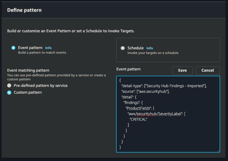 Figure 12: EventBridge event pattern dialogue