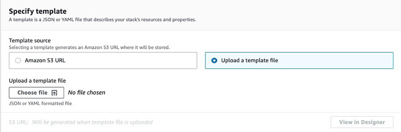 Figure 8: Upload CloudFormation Template File