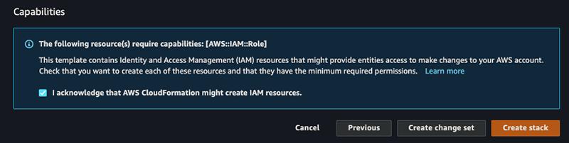 Figure 9: IAM capabilities acknowledgment