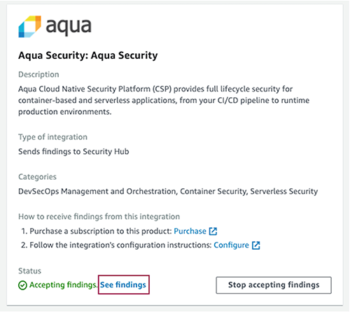 Figure 7: Aqua Security integration card