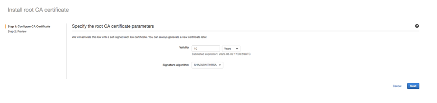 Figure 3: Specify the root CA certificate parameters