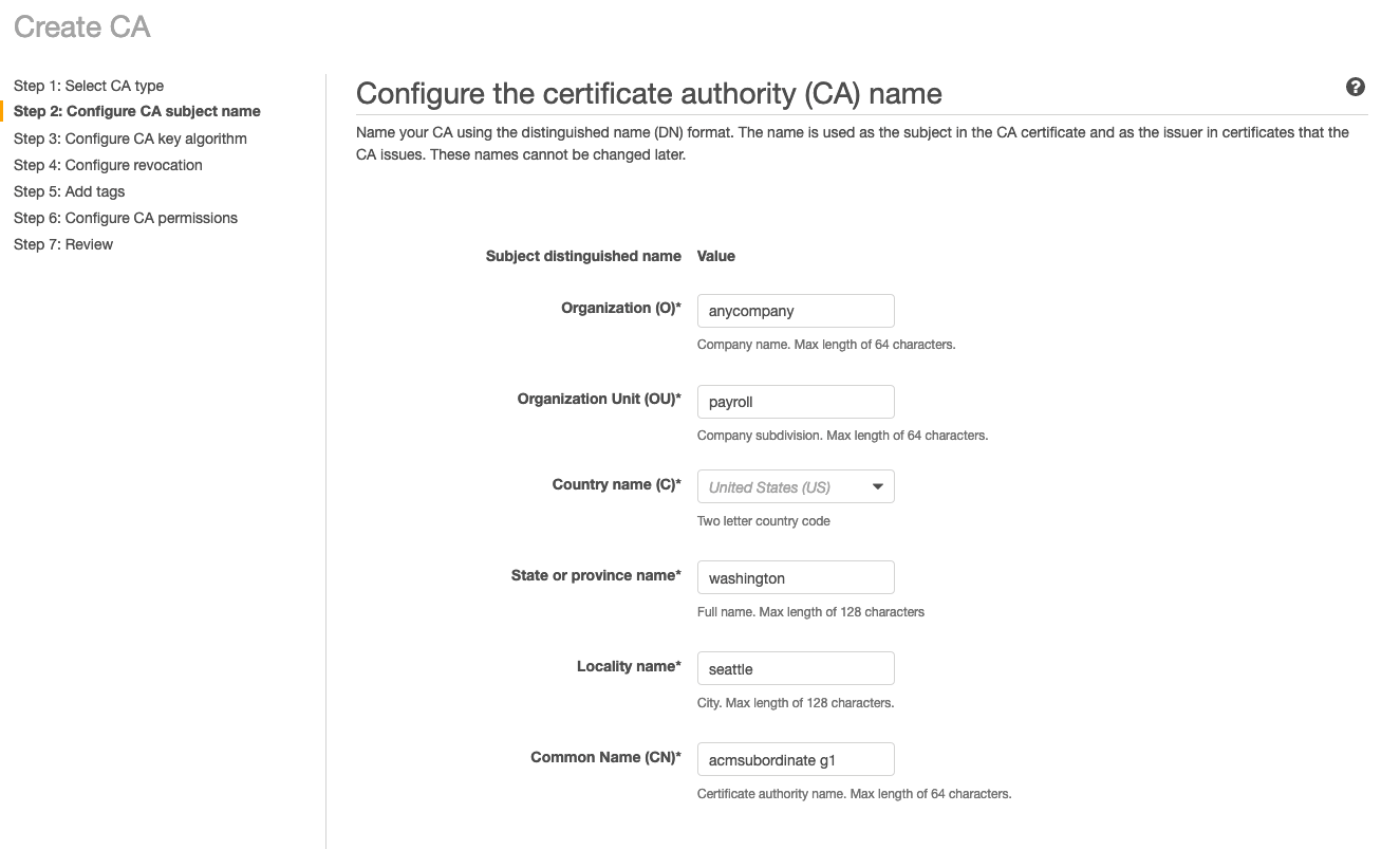 Figure 5: Configure the certificate authority