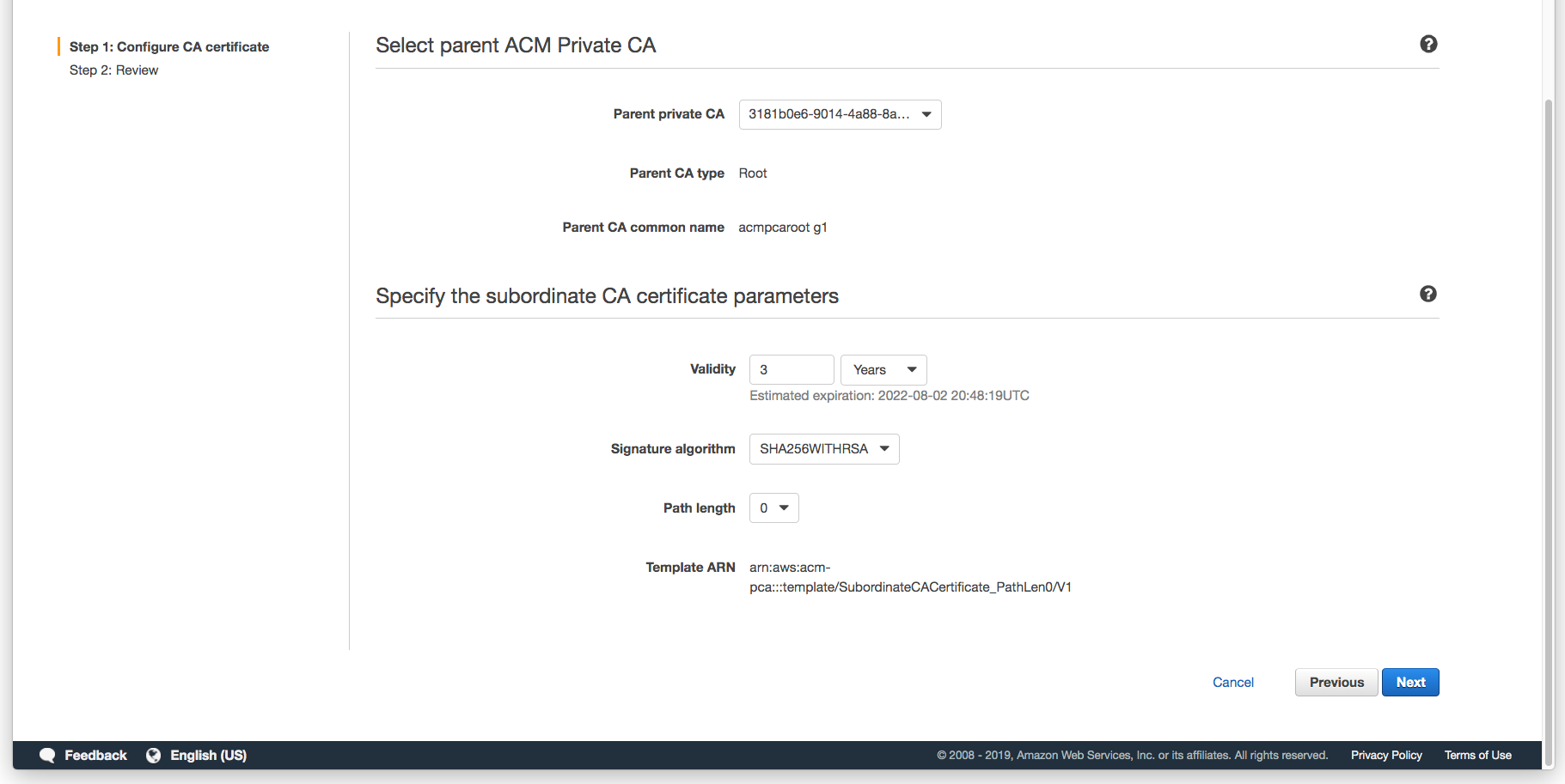 Figure 7: Specify the subordinate CA certificate parameters