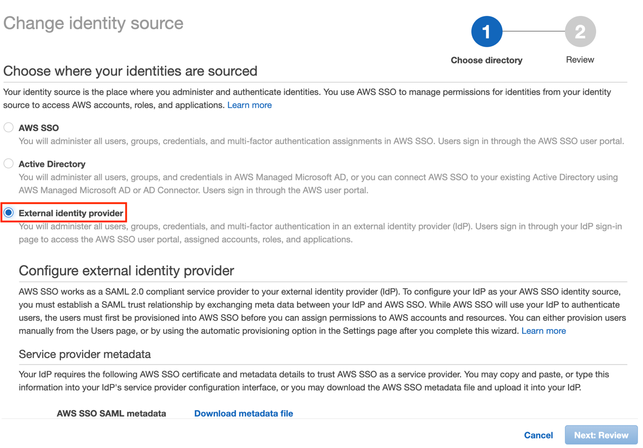 Figure 5: AWS SSO identity provider options