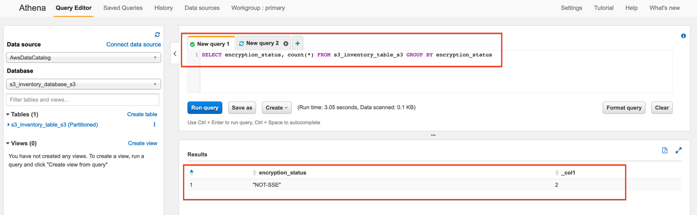 Figure 7: Query results in Athena