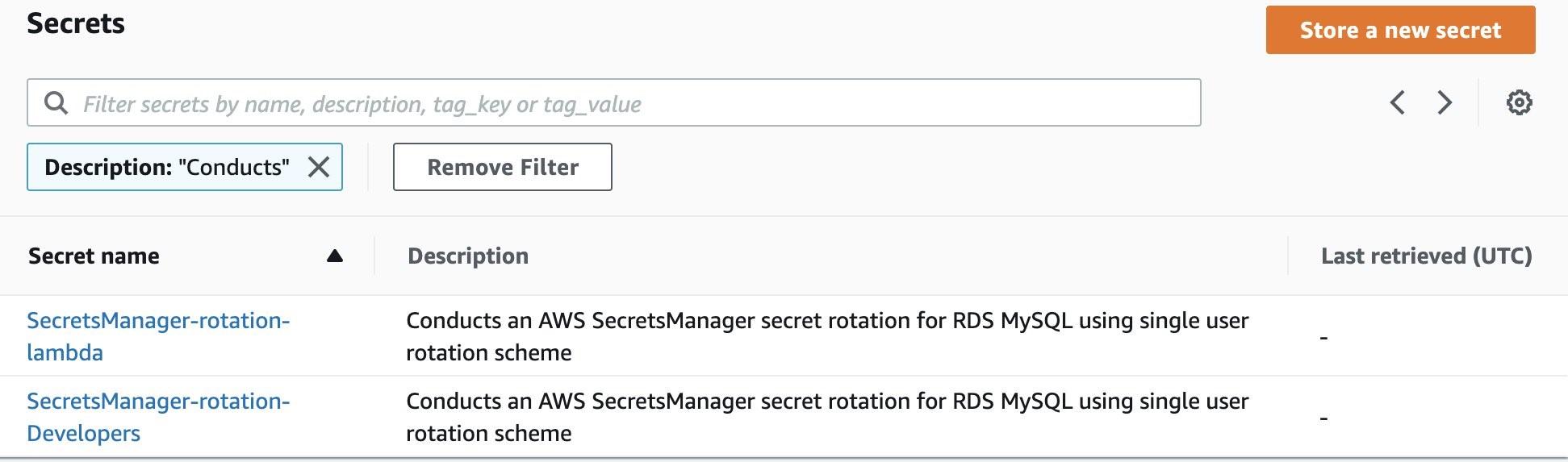 Figure 3: Secret description search