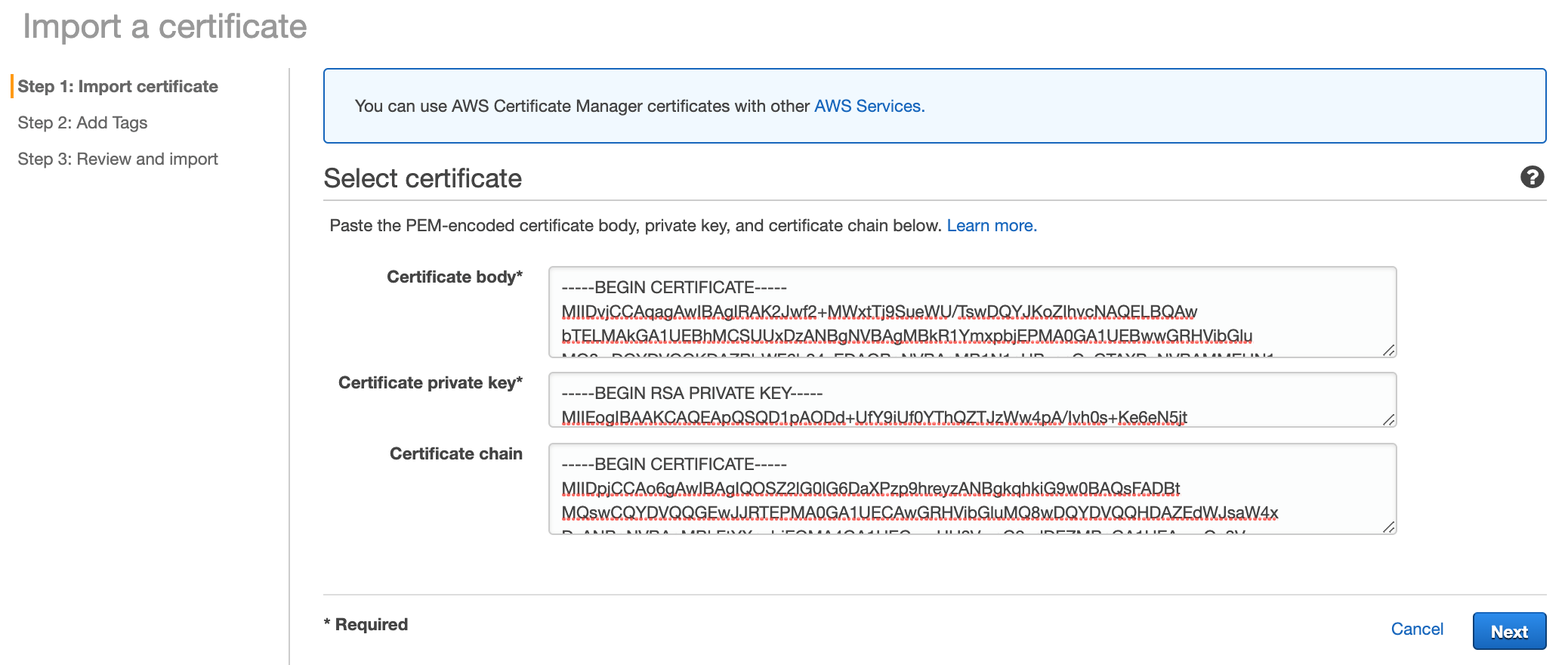 Figure 10: Select a certificate page