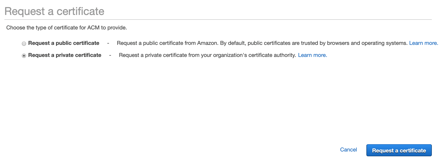 Figure 3: Request a certificate page