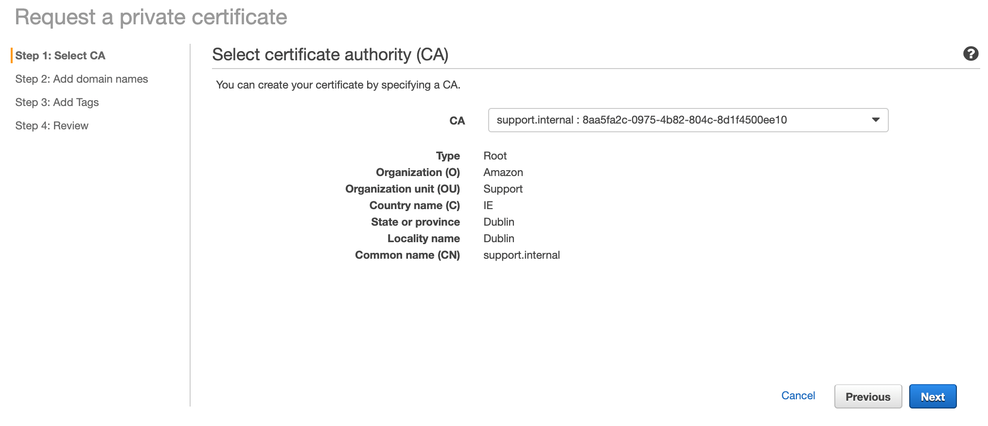Figure 4: Select certificate authority (CA) page