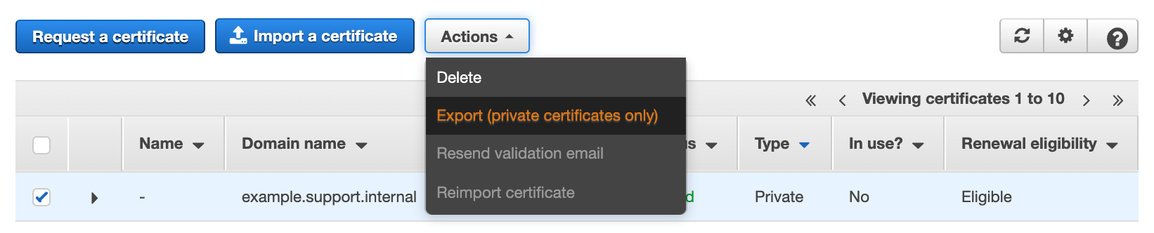 Figure 7: Export (private certificates only)
