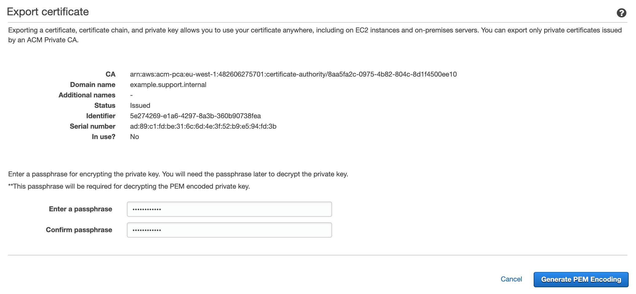 Figure 8: Export certificate page