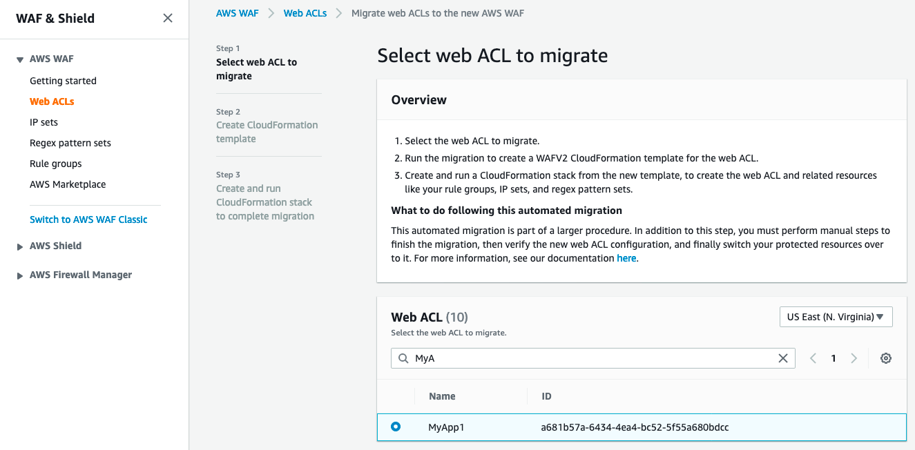 Figure 2: Select a web ACL to migrate