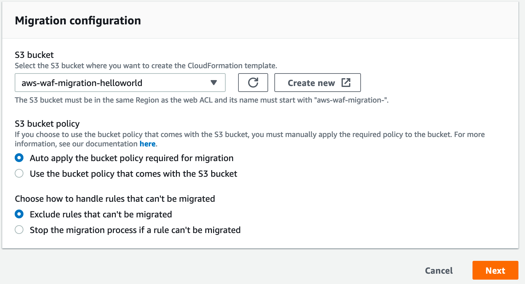 Figure 3: Configure migration options