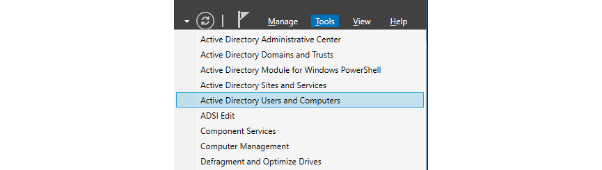 Figure 2: Screnshot of the menu including the 'Active Directory Users and Computers' choice