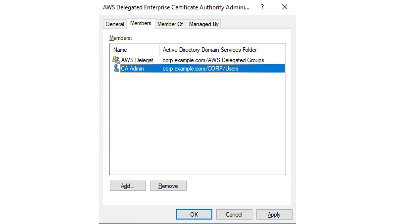 "Figure 8: Screenshot of adding ""CA Admin"" to the 'AWS Delegated Enterprise Certificate Authority Administrators' security group"