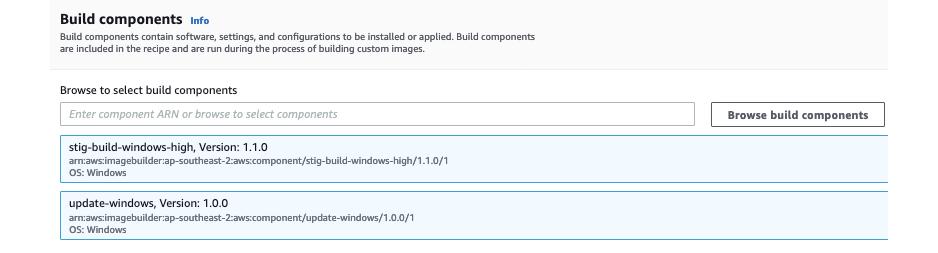 Figure 4: Select build components