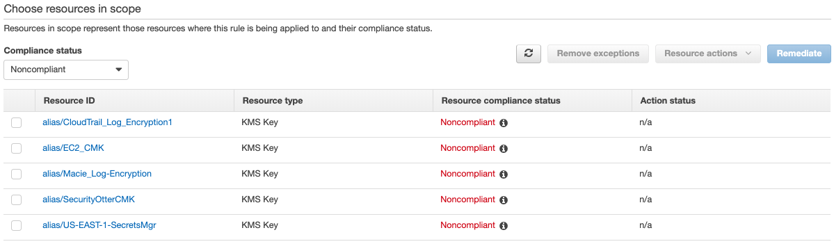 Figure 3: Viewing noncompliant CMKs in the AWS Config console