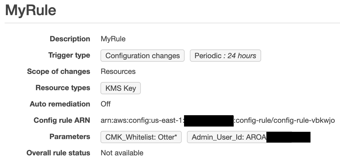 Figure 2: AWSConfigRuleKMS in the AWS Config console