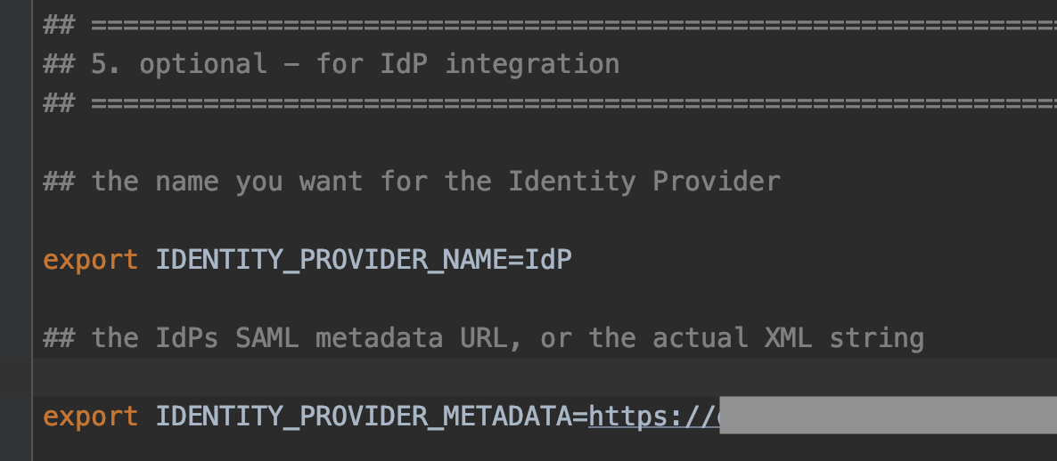 Figure 7: Editing the identity provider metadata in the env.sh configuration file