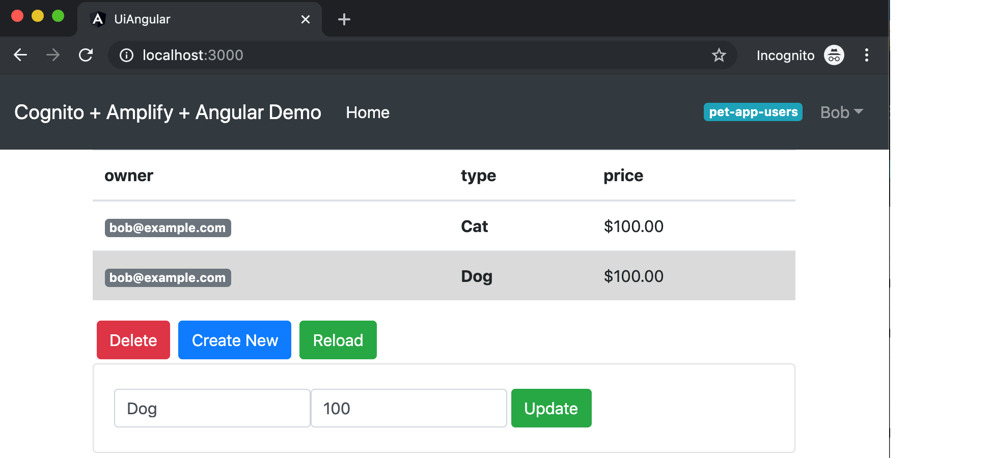 Figure 10: Example view for a user who is only a member of the pet-app-users group