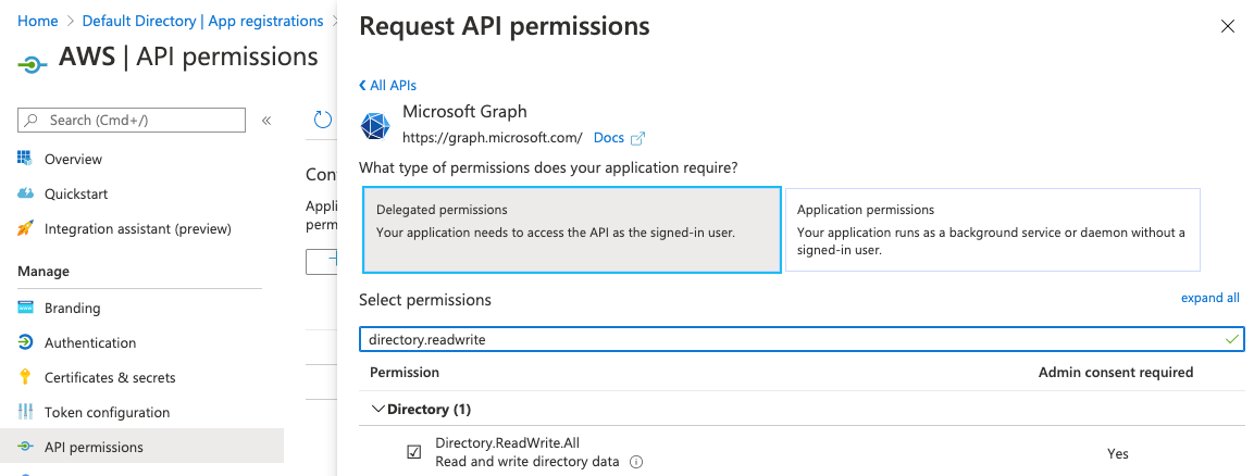 Figure 5: Request API permissions - Add permissions
