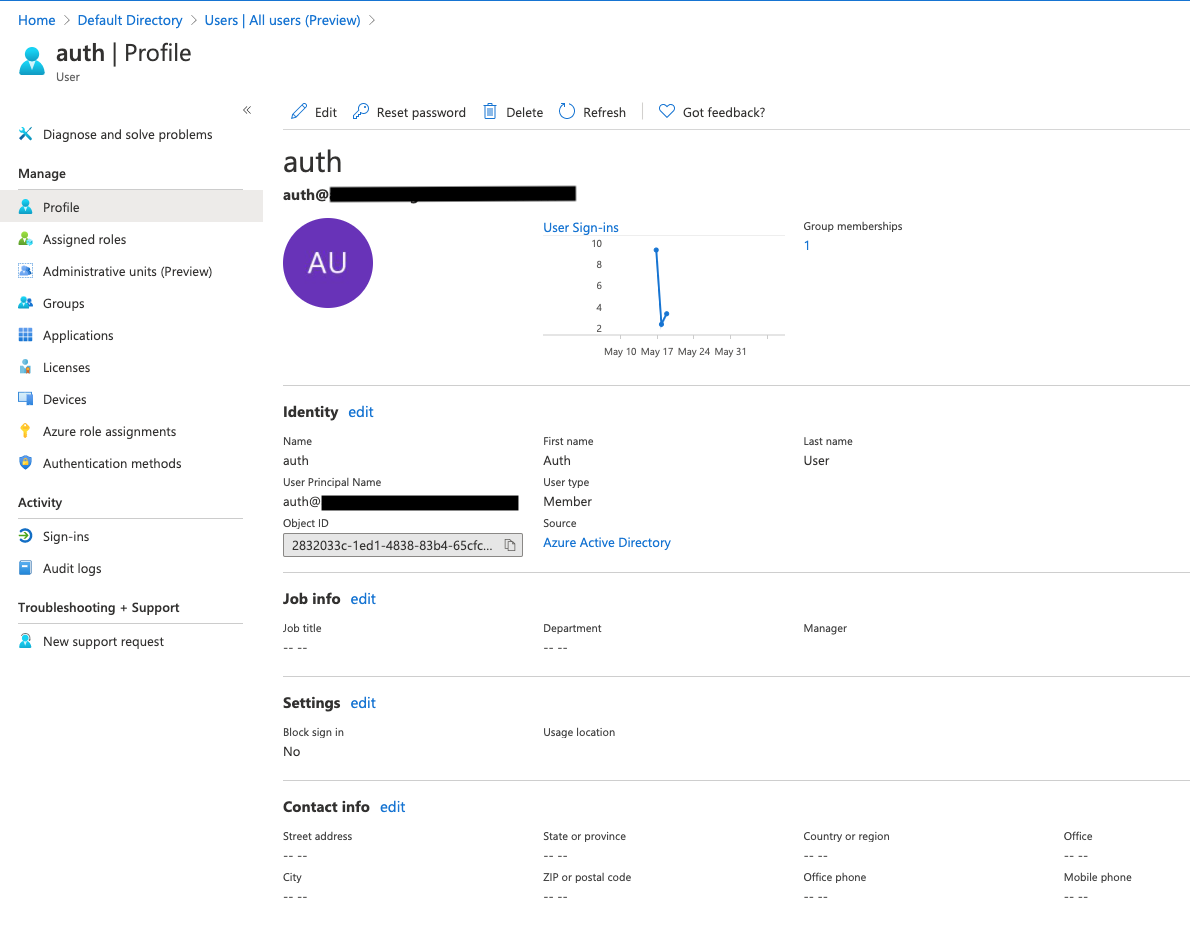 Figure 9: Create a user in Azure AD