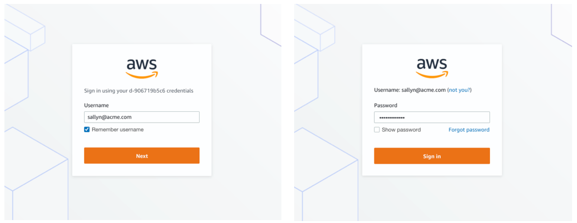 Figure 1: New AWS SSO sign-in
