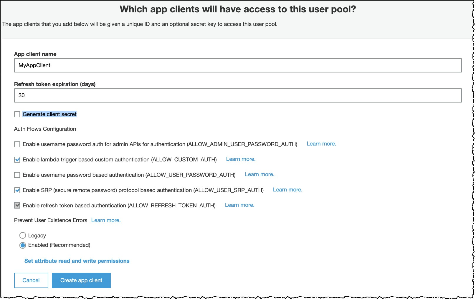 Figure 6: Create and configure an app client