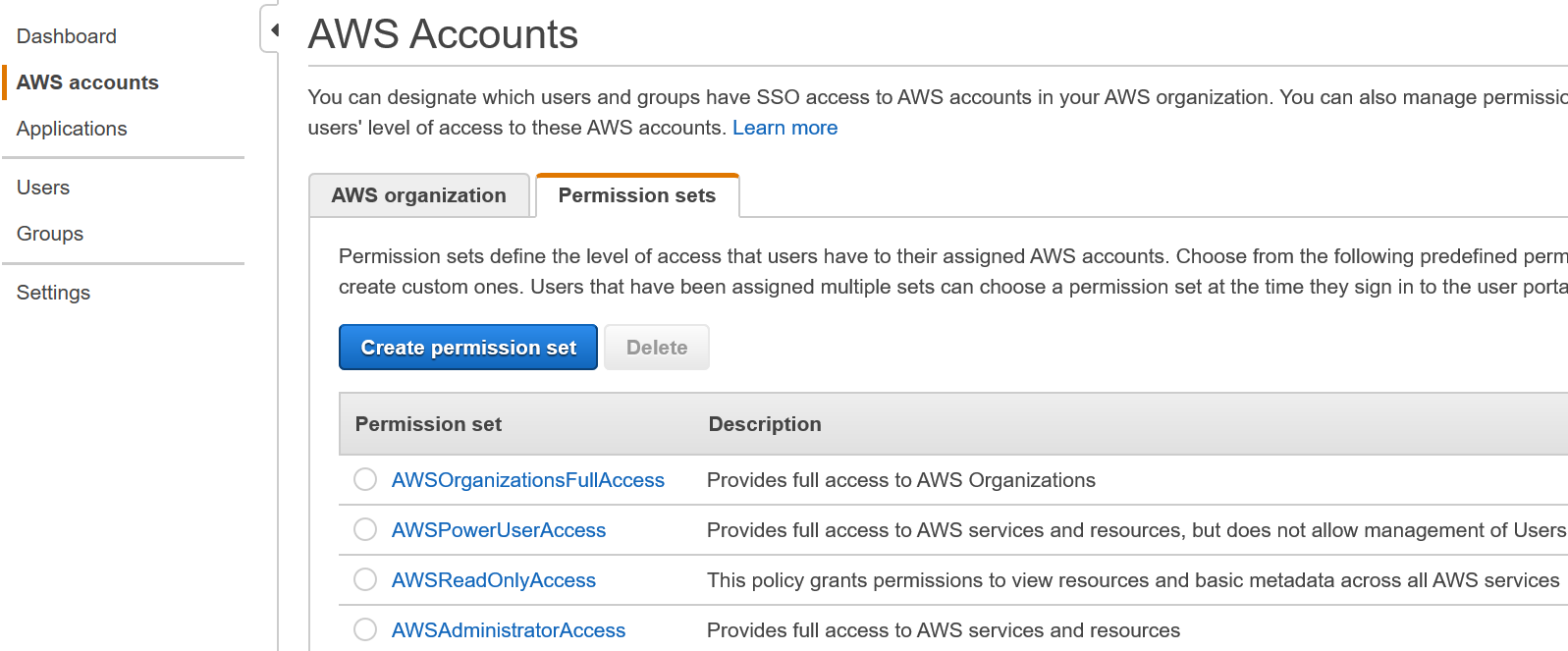 Figure 1: Permission sets tab in the SSO console