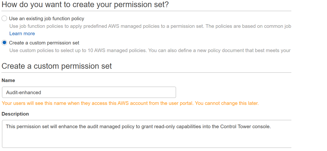 Figure 2: AWS Single Sign-On console – Create new permission set workflow