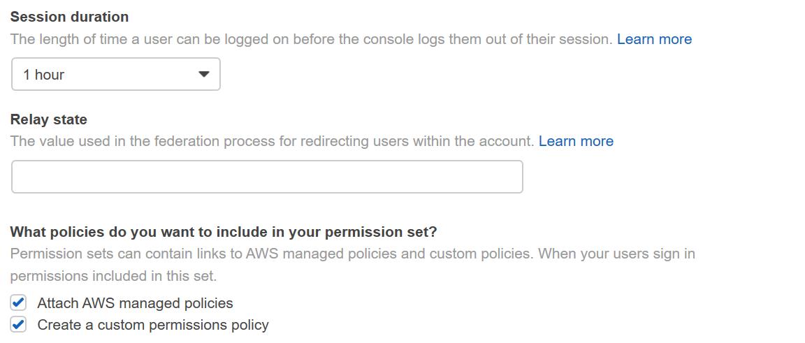 Figure 3: AWS Single Sign-On console – Setting additional permission set configurations
