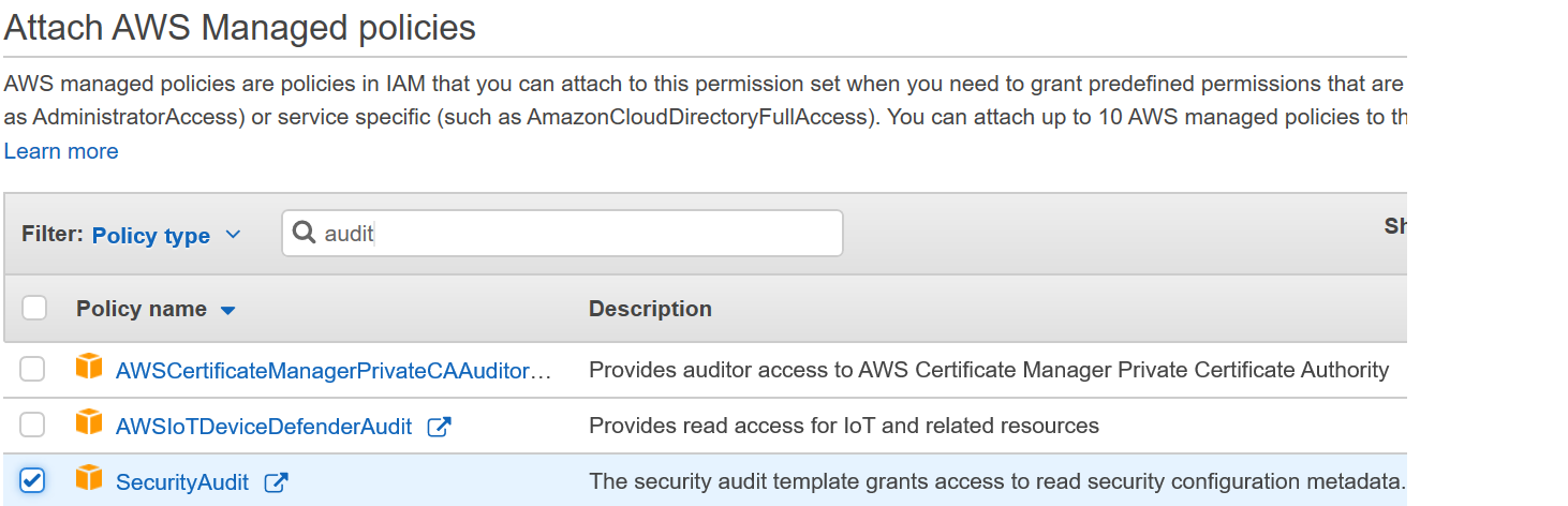 Figure 4: AWS Single Sign-On console – Attaching AWS managed policy