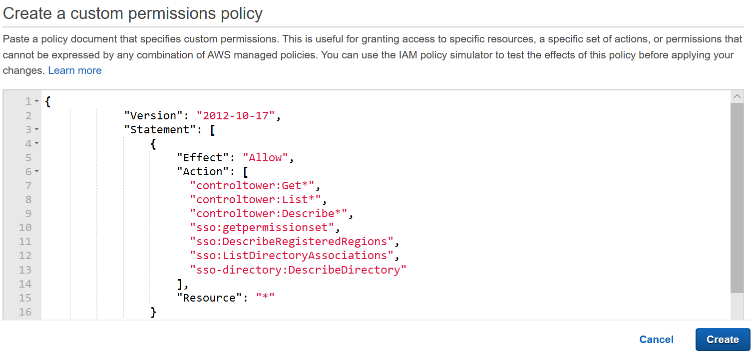 Figure 5: AWS Single Sign-On console – Entering JSON code for custom permission policy