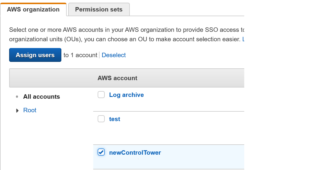 Figure 6: AWS Single Sign-On console – AWS organization tab – Assign access workflow