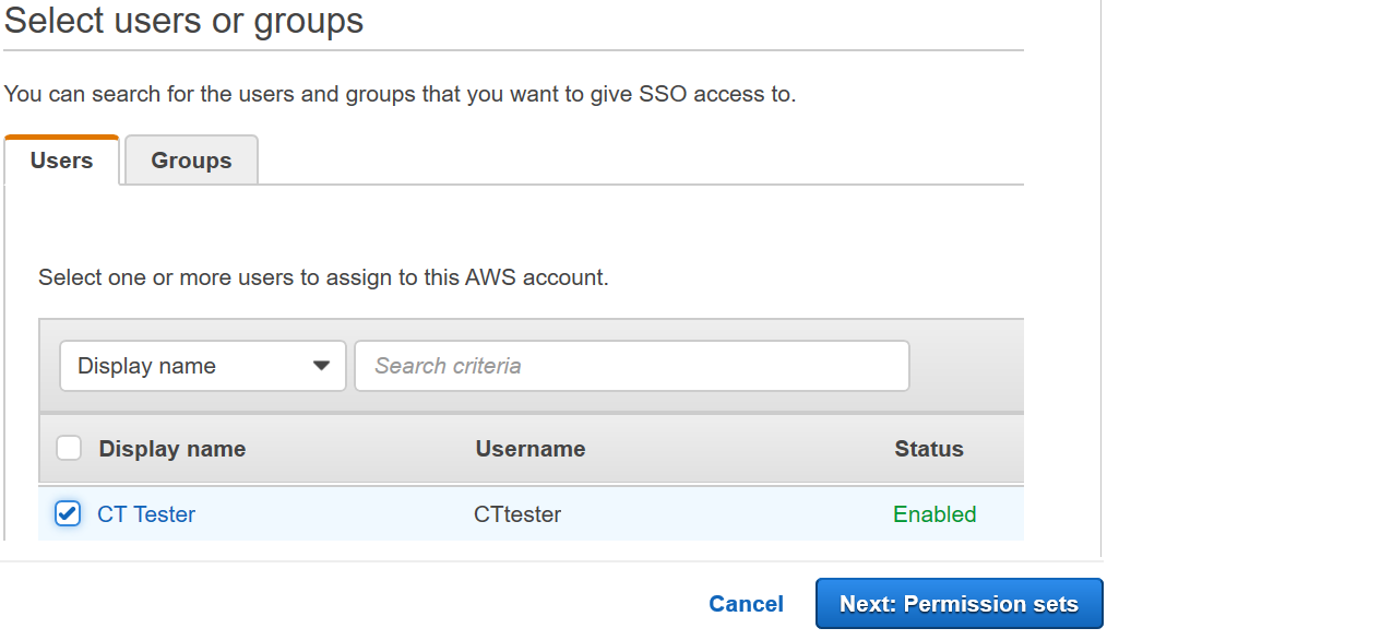 Figure 7: AWS Single Sign-On console – Users tab – Assigning access to your user