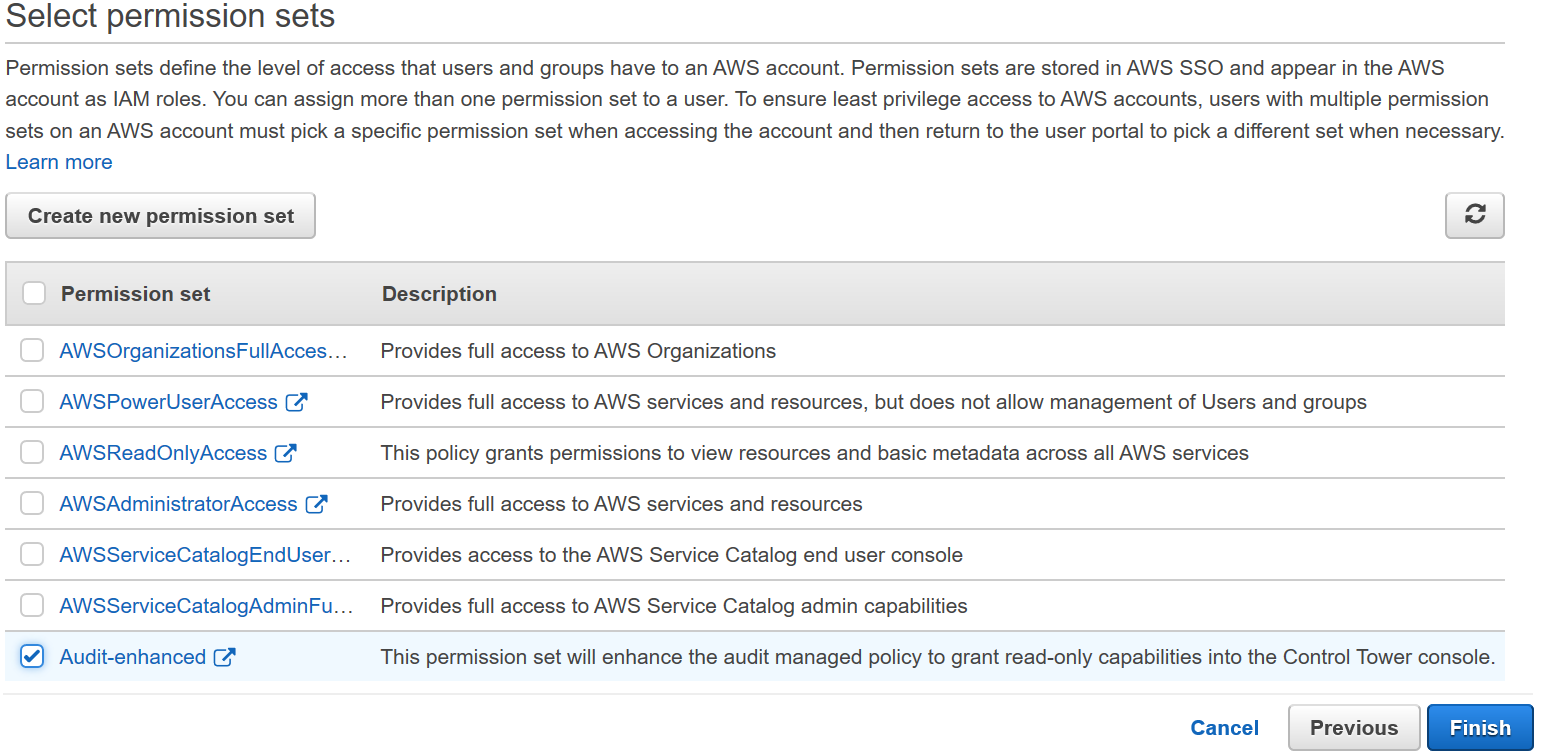 Figure 8: AWS Single Sign-On console – Select permission sets