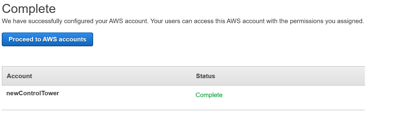 Figure 9: AWS Single Sign-On console – Successful completion of permission set assignment