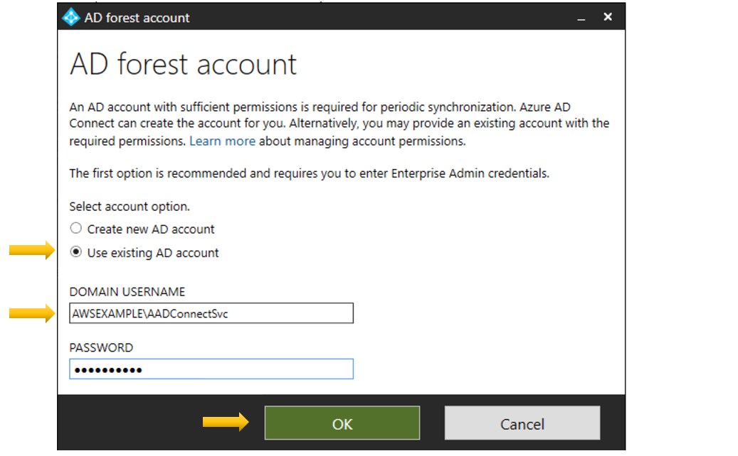 Figure 3: Add an AD forest account