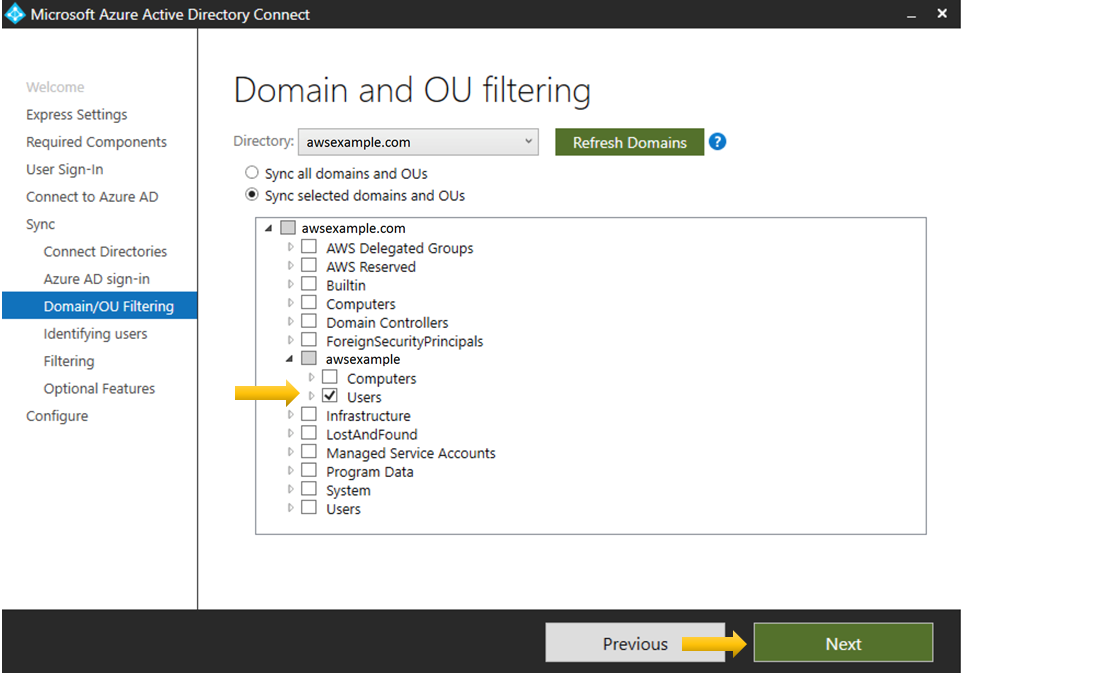 Figure 6: Domain and OU filtering