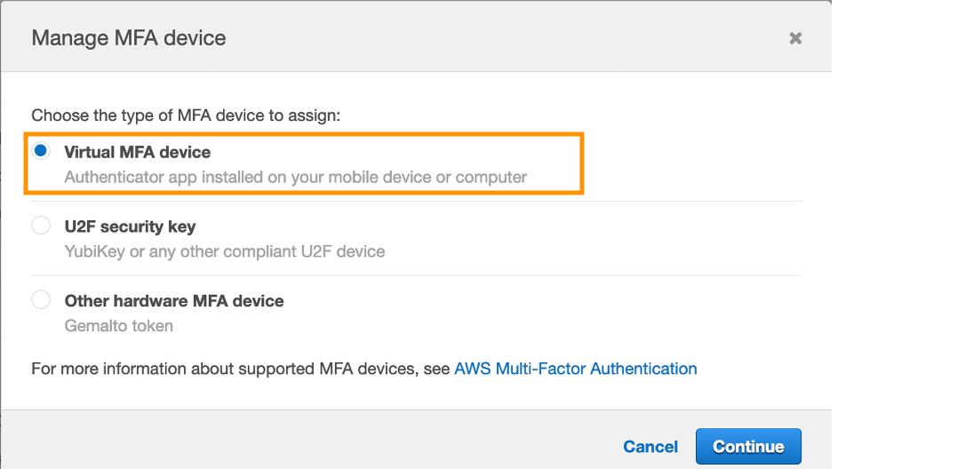 Figure 10: Select the Virtual MFA device type