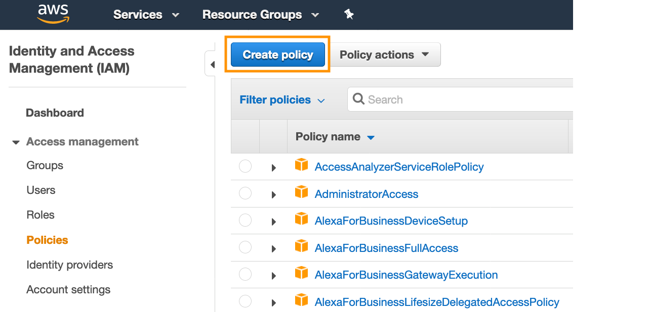 Figure 5: Create a policy in the IAM console