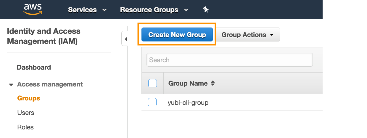 Figure 6: Create a group in the IAM console