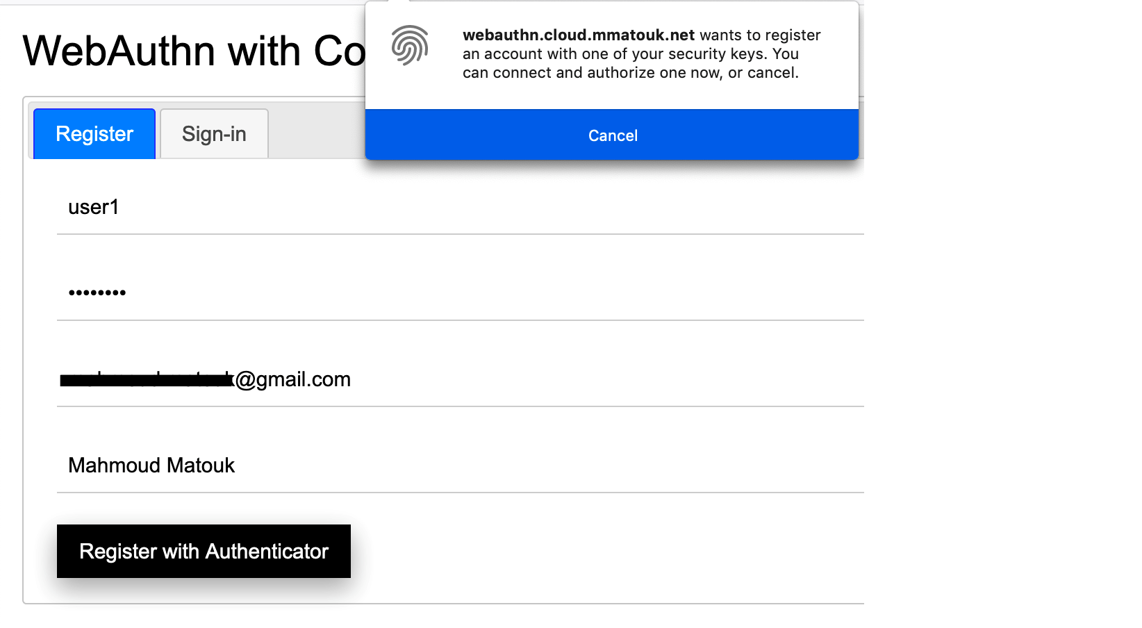 Figure 2: User registration and browser alert to use an authenticator in Firefox