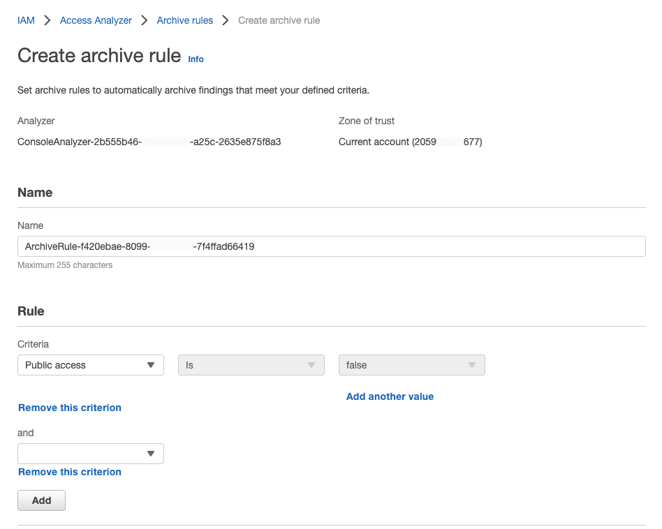Figure 1: IAM Access Analyzer create archive rule page where you add criteria to create a new archive rule