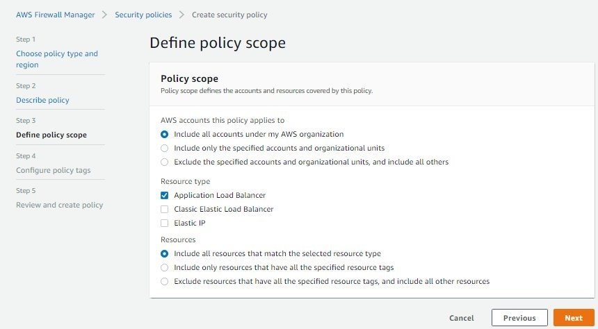 Figure 10: Define the policy scope