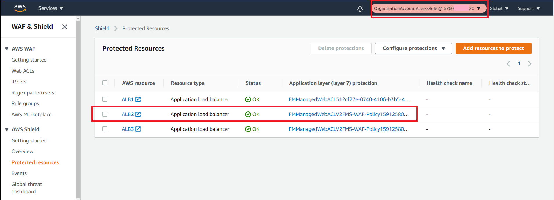 Figure 15: Shield console in the member account shows that the new ALB is a protected resource