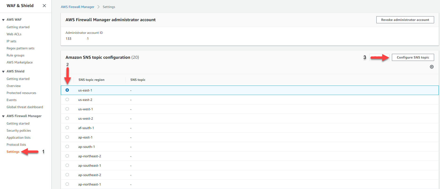 Figure 6: The Firewall Manager Settings page for configuring SNS topics