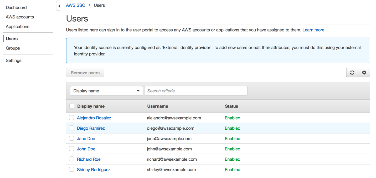 Figure 5: View the newly created users in AWS SSO console